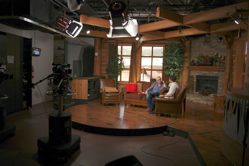 Michael Feeney Callan interviewed at PCTV, Park City Television, Utah, Summer 2011, discussing his biography of Robert Redford and his work as a writer (Photo credit: William T. Synder).