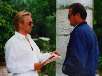 "Callan (right) directing Roger Moore in the TV series My Riviera at La Colombe d'Or, Saint Paul de Vence. ""Roger introduced me to the Fondation Maeght. He is an art fiend."""